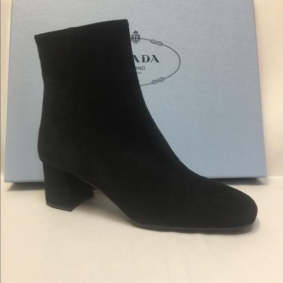 cc9bb6c459 Prada Shoes | Nib Suede 55mm Blockheel Booties 35555 | Poshmark